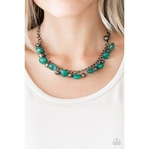 Runway Rebel Green Fringe Necklace Set